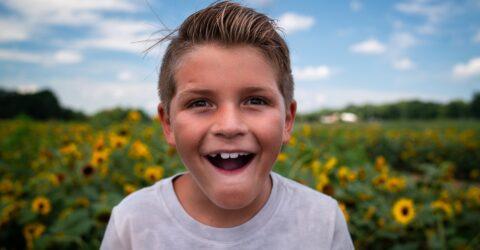 enfant dans champs de tournesol
